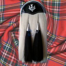 SCOTTISH MILITARY LONG HORSE HAIR SPORRAN 100% ORIGINAL WITH CANTLE & TASSELS