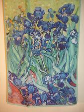 Crepe de chine long silk scarf Print of Van Gogh Irises Blue/green   NEW