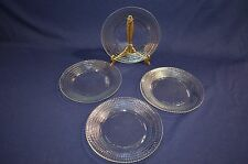 """4 Clear Glass Lunch plates Mexico Forte crisa Cube checker Pattern textured 7"""""""