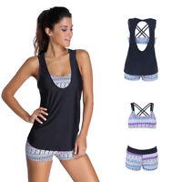 Womens 3 Piece Tankini Bikini Set 12 Push-up Padded Boyshorts Swimwear Plus Size