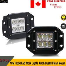 2X 18W 4INCN FLUSH MOUNT FLOOD LED WORK LIGHT BAR CUBE PODS FOG LAMP FORD JEEP