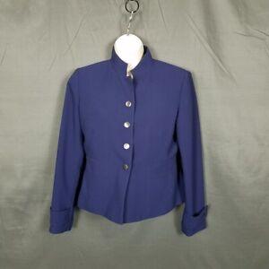 Kasper Blue Snap Front Closure Jacket Petite Size 4P Jacket