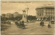 Primi '900 Milano Foro Bonaparte Monumento Garibaldi Carrozze FP B/N ANIM