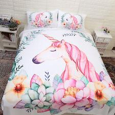 Unicorn Quilt Doona Duvet Cover Set Single/Double/Queen/King Size Bed Pillowcase
