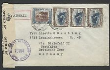 South West Africa 1947 censored airmail cover to British Occupied Zone Germany