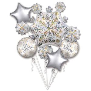 Christmas Snowflake Balloon Bouquet LET IT SNOW Frozen Winter Party Decoration