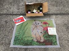 """New listing Vintage Shillcraft Latch Hook Rug Kit """"White Persian� Cat Kitty 60� x 60� Inches"""
