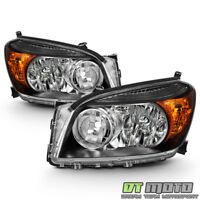 For 2006 2007 2008 Toyota RAV4 Headlights Black Headlamps Replacement Left+Right