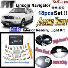 18pcs Xenon Bianche LED Interni Luce Kit Pacchetto per Lincoln Navigator 1998-2002