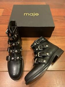 Maje NWB black Leather Booties Size 40