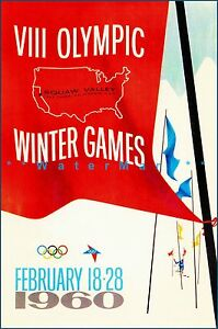 Olympics 1960 Squaw Valley California Vintage Poster Print Winter Sports Games
