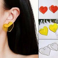 Fashion Love Heart Geometric Ear Earrings Acrylic Stud Women Wedding Jewelry New
