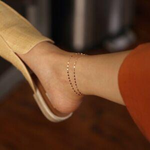 14K Double Stranded Glitter Chain Anklet, Flat Link Chain Gold Anklet