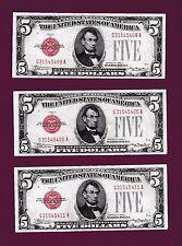 8 RUNS Fr.1528  $5 1928 C   LEGAL TENDER UNITED STATES NOTE G 31545405 A  GEMS