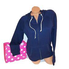 Victoria Secret PINK Hoodie Sweater Medium Full Zip Navy Blue Long Sleeve Solid