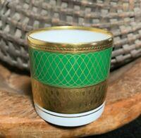 "Rosenthal Aida Principessa Emerald Green w/Gold 2 1/4"" toothpick holder #3032"
