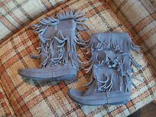 """Minnetonka Womens Size 9 Triple Fringe (11"""" Tall) Gray-Brown Boots 1631T"""