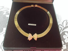 Vintage gold plated diamante bow collar necklace supplied in presentation box