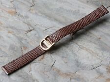 Brown Genuine Lizard 12mm watch band Made in Italy 18K gold-plated deployant