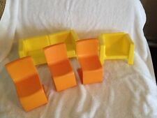 1970's Barbie Townhouse Plastic Yellow Couch & Chair & 3 Orange Kitchen Chairs