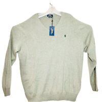 Polo Ralph Lauren NWT Mens V-Neck Pima Cotton Fawn Grey Sweater Size XXL $125