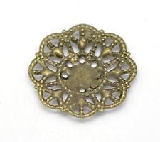 Envoltura De Flor De Bronce Antigua De 10 encanto Artesanía Adornos Filigrana Conectores