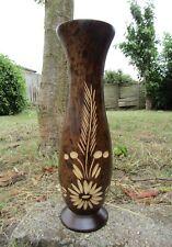 Fair Trade Hand Carved Made Tall Thai Mango Wood Wooden Flower Vase
