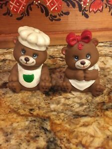 2 Vintage Teddy Bear  Pencil Sharpeners, Boy With Chef Hat - Girl Has Red Bow