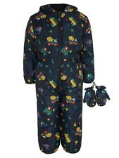 BNWT Boys Warm Padded Shower Resistant Snowsuit Mittens Rain Splash Puddle Suit