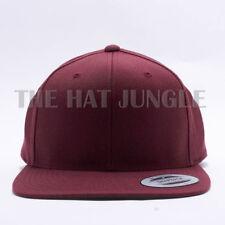 Yupoong Snapback Hat Plain 6089M Classic Flexfit Baseball Cap Wool Maroon Red