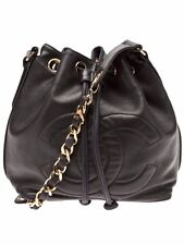 Authentic Chanel Lambskin Leather Chain Vintage Bucket Shoulder Bag Black