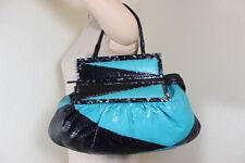 FENDI Blue and Black Snakeskin Python Leather Tote Shoulder Bag Large Italy