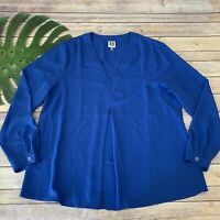 Anne Klein Womens Popover Top Size L Bright Blue Long Sleeve Solid Blouse