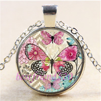 Colorful Butterfly Photo Cabochon Glass Tibet Silver Chain Pendant Necklace