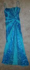 CACHE AQUA BLUE BEADED SILK COCKTAIL NIGHT DRESS size M