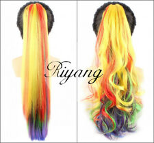 "Riyang Women's Rainbow Hair Ponytail 20"" 50cm Long Banana Claw in Extensions New"