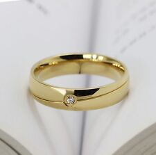 MENS titanium l simple gold with cz wedding ring engagement band size W  ald129