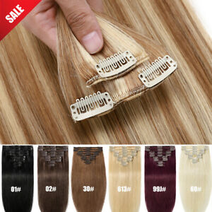 Clip In 100% Remy Human Hair Extensions Full Head Straight Long Brown Blonde UK
