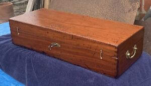 1780-1810 Federal Antique Carpenter Tool Box & Key SOLID MAHOGANY Dovetailed