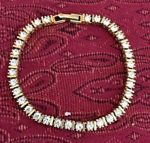Vintage Costume Jewelry Rhinestone Tennis Bracelet Yellow Gold Plated Metal