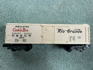 American Flyer #807 Rio Grande D&RGW Cookie Boxcar white plastic knuckle 1957