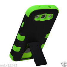 Samsung Galaxy SIII 3 i9300 Hybrid T Armor Stand Case Skin Cover Black Green