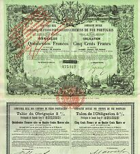 PORTUGAL ROYAL COMPANY OF RAILWAYS  stock certificate 1884