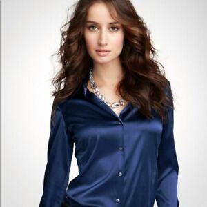 RARE ANN TAYLOR Womens Rich Silk Stretch Button Blouse Shirt Black 4