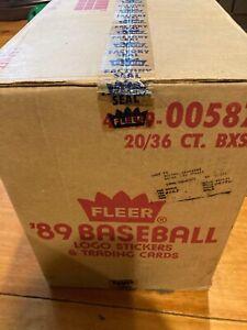 1989 Fleer baseball wax box  36 Packs per box unopened un touched EX/MT-NR /MT