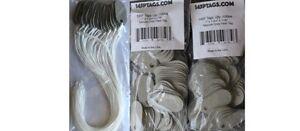 145P Tags Sampler PROMO (200/25): 2 bags (200) 145P Grey tags & 1 Bag(25) w/Cord