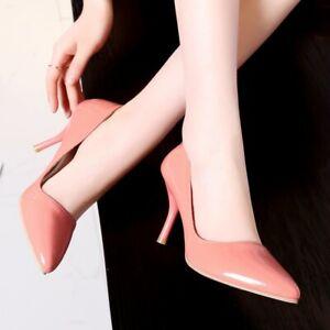 Fashion Women's Pointy Toe Stilettos High Heels Slip On Wedding Party Solid Shoe