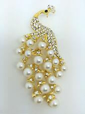 Gold Tone aleación Diamante Cristal Pavo Real Ave Strass Perlas Broche Vintage