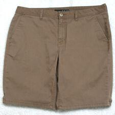 """Krew Denim Brown Flat Front Mans Solid Men's Dress Shorts Large 36"""" X 10"""" V9"""