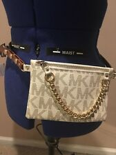 NWT MICHAEL KORS FANNY PACK BELT SIZE SMALL VANILLA / GOLD 554131